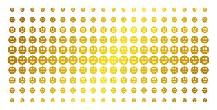 Smiled Sticker Golden Halftone Grid. Smiled sticker icon golden halftone pattern. Vector smiled sticker pictograms are arranged into halftone grid with inclined vector illustration