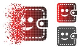 Fractured Pixelated Halftone Smiled Wallet Icon. Smiled wallet icon in dispersed, dotted halftone and undamaged entire versions. Cells are organized into vector stock illustration