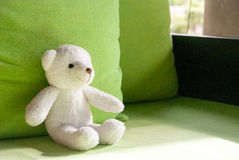Smilely white teddy bear sit on sofa Royalty Free Stock Images