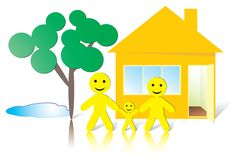 SmileMan: Family at Home Stock Photo
