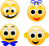 Smiles-01. Comical images of emotions of the person. The image is executed in program Illustrator CS2 Stock Illustration