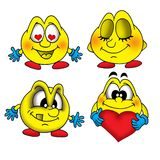 Smiles 1. Four illustrations of smiling faces stock illustration