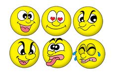 Smiles. Color illustration of six smiles showing emotions Stock Photo