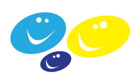 Smiles. Oval smiles in different colors Royalty Free Stock Photo
