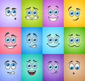 Smiles with blue eyes on colored background Royalty Free Stock Photography