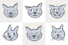 Smiles cats icon set. Royalty Free Stock Images