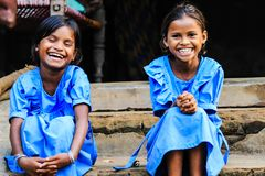 Smiles are Contagious. Tribal Children from Kalahandi District of Odisha, India stock photo