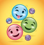 Smiles emoji smiling tongue out and happy faces. Vector illustration Royalty Free Stock Photos