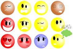 Set of colorful Smiles wit different expressions Royalty Free Stock Photography