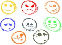 Amazing set of Smiles expression sketch isoalted Royalty Free Stock Photo