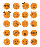 20 smiles icons set child orange color. 20 smiles icons set child girls and boys in orange color Royalty Free Stock Photo