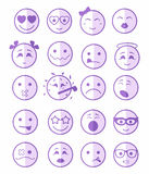 20 smiles icons set child purple half. 20 smiles icons set child girls and boys in purple color on half face Stock Photos