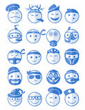 20 smiles icons set profession blue. 20 icons set profession smilies with different emotions in blue color on half face Royalty Free Stock Photos