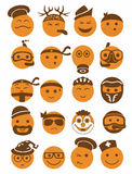 20 smiles icons set profession orange. 20 icons set profession smilies with different emotions in orange color Stock Photos