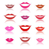 Smiles, lips icons on white Stock Photos