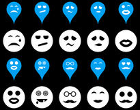 Smiles, map markers icons Royalty Free Stock Image