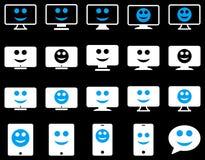 Smiles, monitors, mobile icons Stock Image