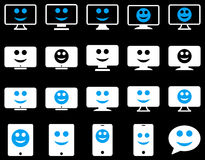 Smiles, monitors, mobile icons Stock Photography
