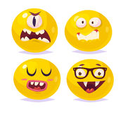 Smiles set of characters. Vector cute cartoons Stock Image