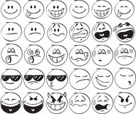 Smiles. Set of doodle Smiles on white background Stock Images