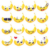 Smiles set of fruit characters. Vector cute cartoons Stock Image