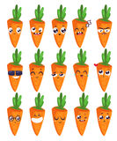 Smiles set of fruit characters. Vector cute cartoons Royalty Free Stock Images