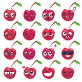 Smiles set of fruit characters. Vector cute cartoons Royalty Free Stock Photography