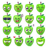 Smiles set of fruit characters. Vector cute cartoons Stock Photos