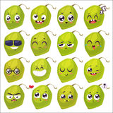 Smiles set of fruit characters. Vector cute cartoons Stock Photography