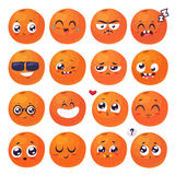 Smiles set of fruit characters. Vector cute cartoons Royalty Free Stock Photo