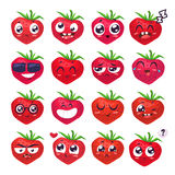 Smiles set of fruit characters. Vector cute cartoons Stock Images
