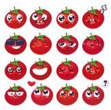 Smiles set of fruit characters. Vector cute cartoons Stock Photos
