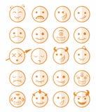 20 smiles vampires icons set color half. 20 smiles vampires evil icons set in orange color on half face stock illustration