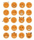 20 smiles vampires icons set orange. 20 smiles vampires evil icons set in orange color vector illustration