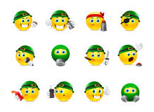 Smiles at War. Set of yellow round smiles on the theme of war. Smilies in camouflage and with a variety of weapons in the hands of stock illustration