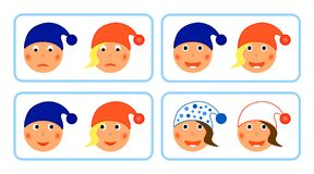 Smiles at winter hats Stock Images