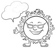 Smiley ήλιων με τα γυαλιά, περιγράμματα διανυσματική απεικόνιση