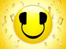 smiley μουσικής του DJ ανασκόπη&s διανυσματική απεικόνιση