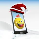 smiley Χριστουγέννων γενικό κινητό τηλεφωνικό σε τρισδιάστατο που διευκρινίζεται Στοκ Εικόνες