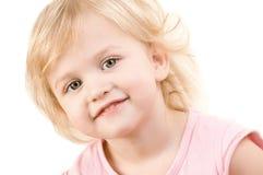 smiley близкой девушки счастливый маленький вверх Стоковые Изображения