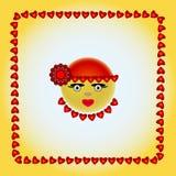 Smiley в красной крышке с красным цветком Стоковые Фотографии RF