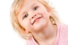 smiley девушки крупного плана счастливый маленький Стоковые Фотографии RF