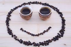 Smiley кофе на таблице Стоковое Изображение RF