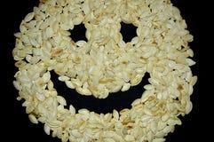 Smiley сделанный из семян тыквы стоковые фотографии rf