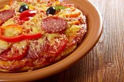 Smiley смотрел на пиццу Стоковые Фото