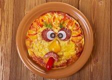 Smiley смотрел на пиццу Стоковые Изображения RF