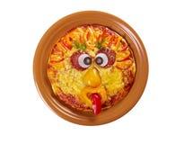 Smiley смотрел на пиццу Стоковые Фотографии RF