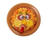 Smiley смотрел на пиццу Стоковое Изображение