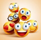 Smiley смотрит на группу в составе характеры смайлика вектора с смешными выражениями лица иллюстрация вектора