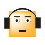 Smiley слушая к музыке на наушниках и как раз наслаждается песней Стоковое Изображение